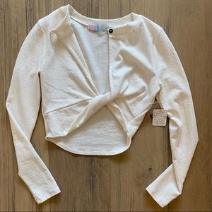 Free People Beach Crop Top twist front size small